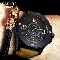 Parnis 47mm Top Marke Luxus Military herren Uhr Leder Leuchtende Mechanische Automatische Männer Uhren Mann Uhr horloge relogios