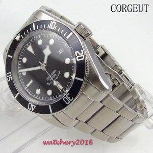 Image 3 - 41mm Corgeut siyah kadran aydınlık tarih dağıtım toka SS band üst marka safir cam Miyota otomatik mekanik erkek saati