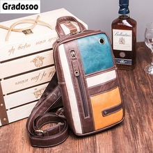 Gradosoo Panelled Design Chest Bag Crossbody Bags For Men Messenger Fashion Male Diagonal Package Shoulder Retro LBF680