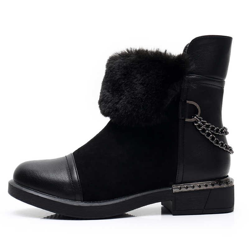 KULADA Mới Giày Boot Nữ Khóa Kéo Lông Dày Dặn Ấm Mắt Cá Chân Giày Femal Mùa Đông Da Lộn Giày Da Nữ Gót Thấp Đế Dày botas