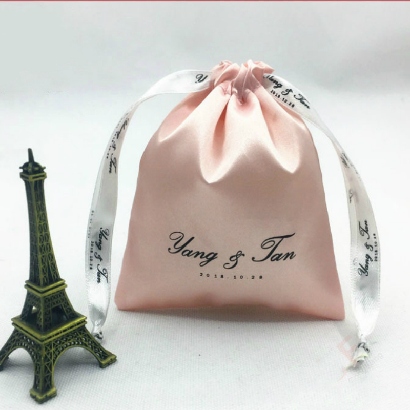 100PCS Satin Gift Bag Packaging Jewelry/Makeup/Cosmetic/Wedding/Party/Hair/Shoe Silk Drawstring Pouch Wrapping Sachet Print Logo