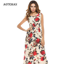 Long Summer Dress Women 2019 Sexy Vintage Print Floral Sleeveless Party Dress Female Casual Elegant Boho Beach Dresses Sundress(China)