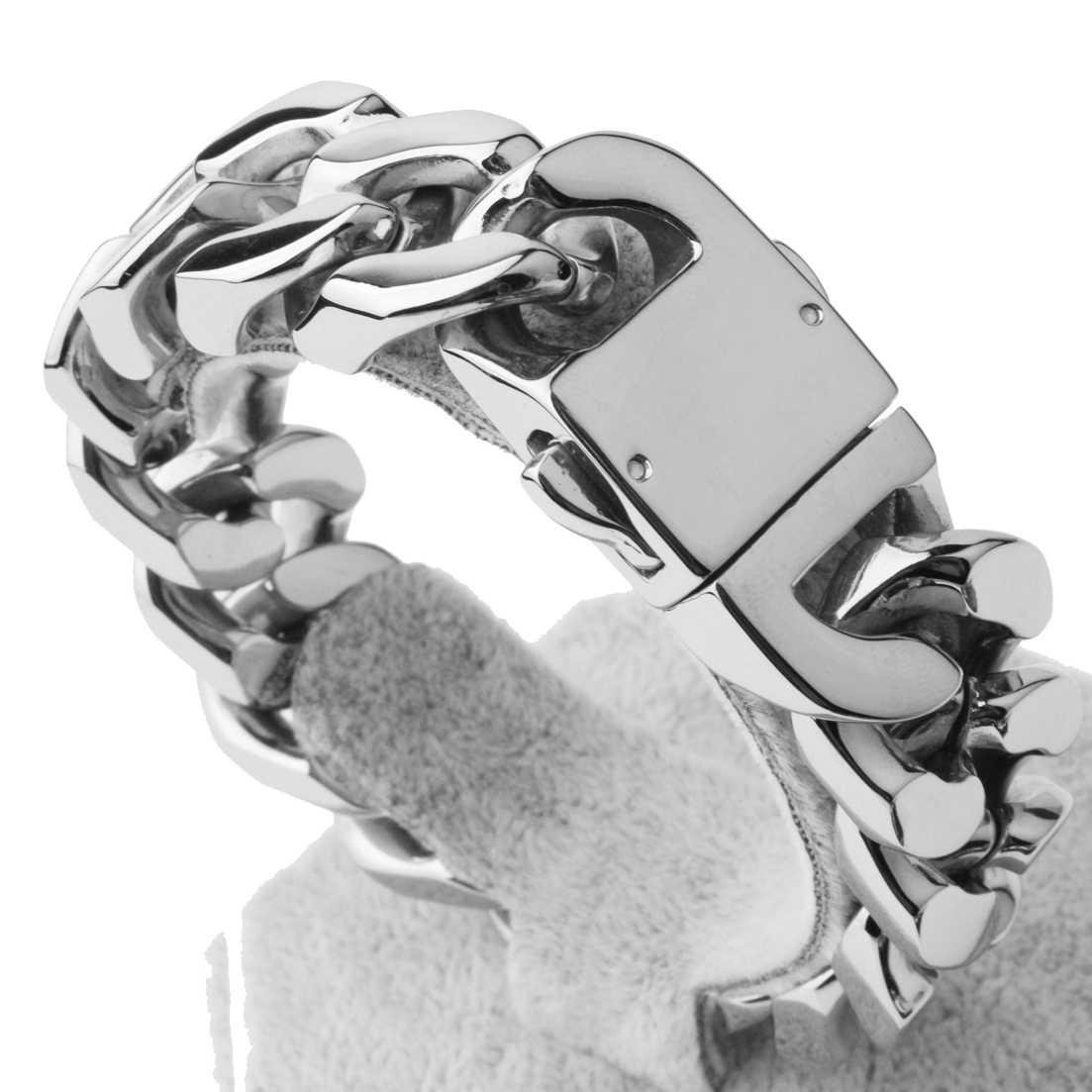 20mm מלוטש כסף/זהב/שחור צבע Cut לרסן קובני קישור 316L נירוסטה צמיד Mens שרשרת בני סיטונאי תכשיטים