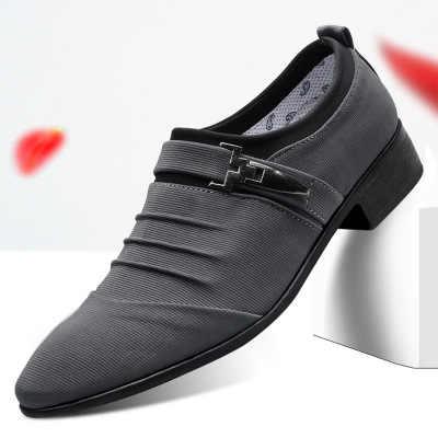 2020 แฟชั่นผู้ชายสีดำ Oxfords อย่างเป็นทางการรองเท้าแต่งงานรองเท้าผู้ชายชี้ Toe ผ้าใบรองเท้าสีดำสีเทา 38-48