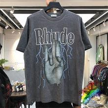 2020 RHUDE T-shirt Hommes Femmes Lavé Faire Vieux T-Shirts Streetwear Style D'été Haute qualité Rhude Top T-Shirts