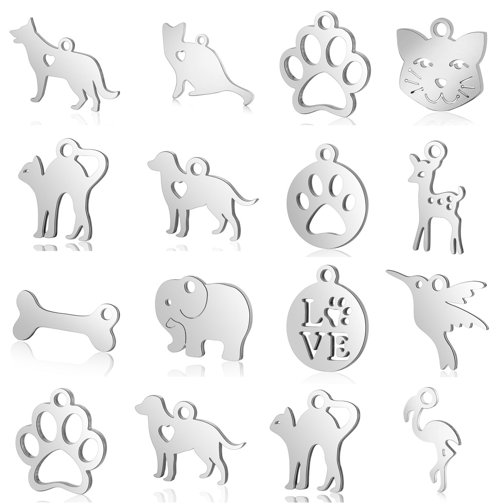10pcs/lot Pet Dog Cat Paw DIY Charms Wholesale 100% Stainless Steel Dachshund Elephant Pendant Hummingbird Frog Connector Charm