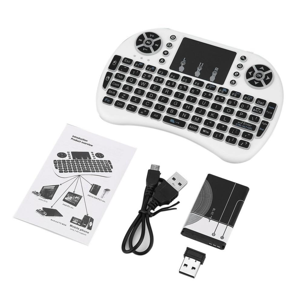 2020 New I8 Mini Wireless Keyboard 2.4ghz English Russian 3 Colour Air Mouse With Touchpad Remote Control For Android TV Box