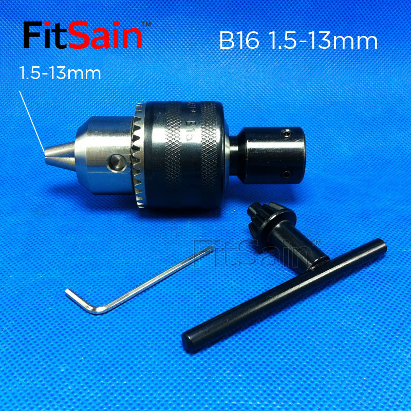 FitSain-B16 1.5-13mm Mini Drill Chuck For Motor Shaft 8mm/10mm/12mm/14mm Connect Rod Power Tools Accessories Drill Press