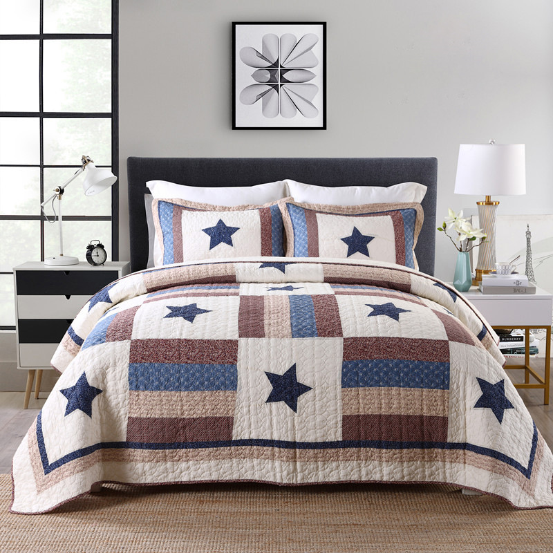 American Double Pure Cotton Quilted Quilt Three-piece British Wind Cotton Bed Cover Air Conditioning Quilt Sheet