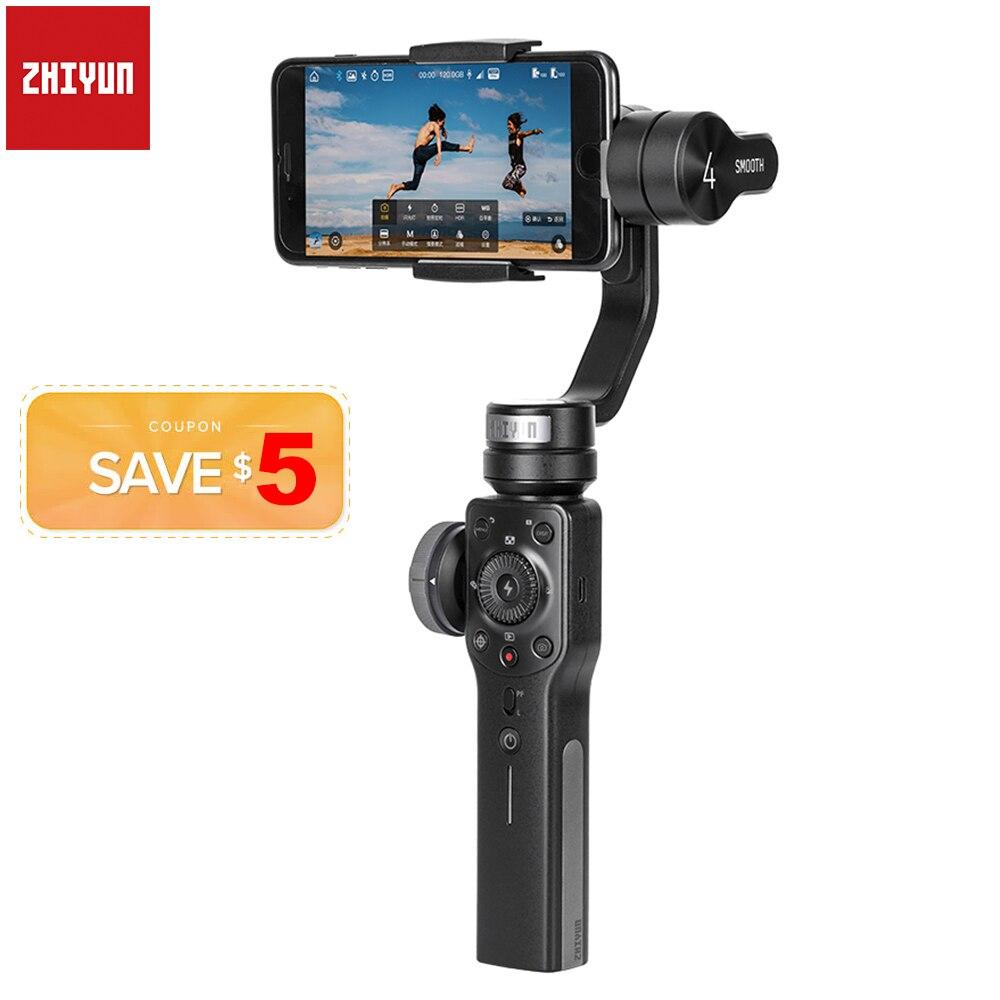 Zhiyun Smooth 4 Q2 3-Axes Poche Smartphone Stabilisateur de Cardan pour iPhone 11 Pro Max XS XR X 8P 8 Samsung S9 S8 & Caméra D'action
