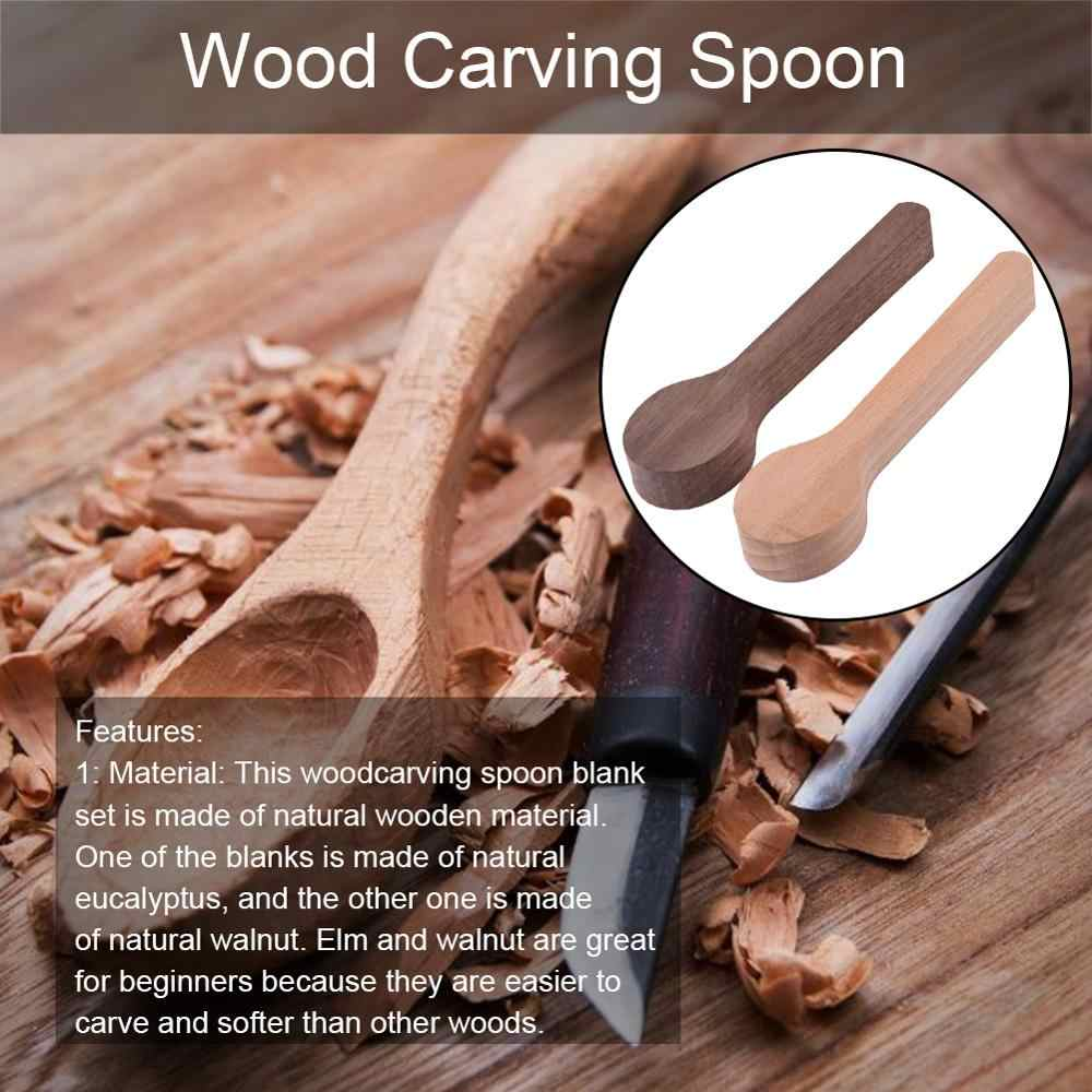 Healifty 2pcs Wood Carving Spoon Blank Unfinished Wood Carving Tools Blank Wooden Craft for Whittler Starter Kids
