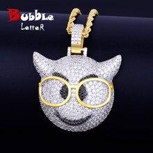 W okularach Demon twarz naszyjnik łańcuch urok złoty kolor cielisty bling Cubic cyrkon męski hip hop Rock street Jewelry