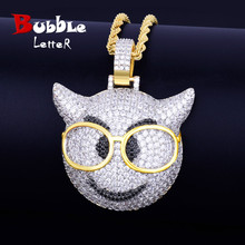 With Glasses Demon Face Pendant Necklace Chain Charm Gold Color Bling Bling Cubic Zircon Mens Hip hop Rock street Jewelry