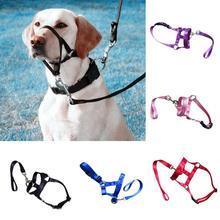Nylon Dog Head Collar Pet Gentle Leader Training Halter No Pain Pull Control  Leash Adjustable Harness Nose Reigns