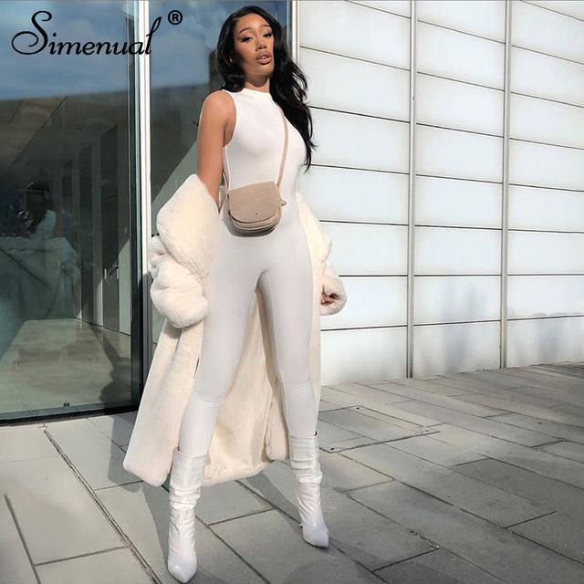 Simenual Casual Solid Bodycon Sleeveless Jumpsuits Sporty Workout Active Wear Skinny 2020