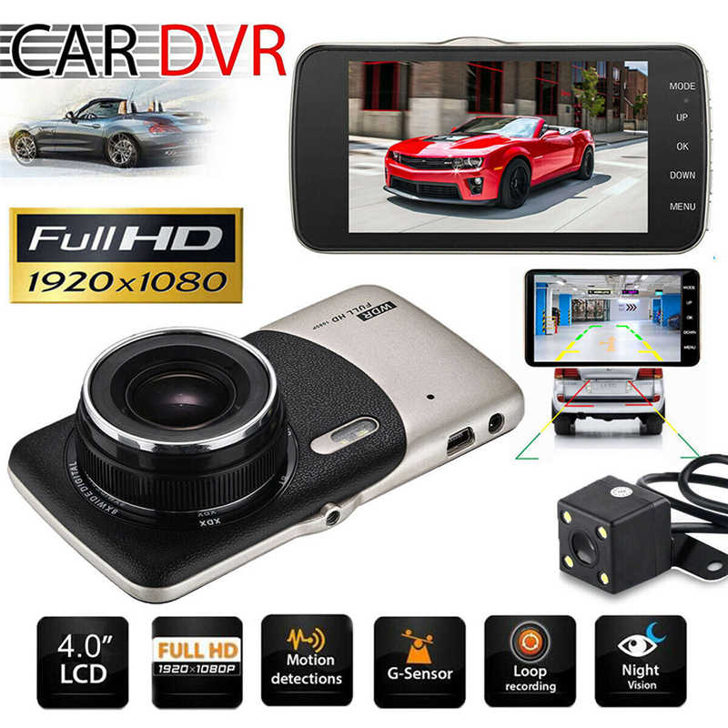 "4"" 1080P 170 Degree Two Lens Dash Cam Front Rear Auto Recorder G-sensor Car Camera Car DVR Driving Car Cam Recorder Night Vision"