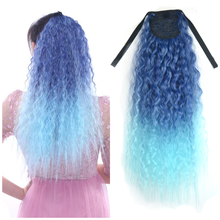 Synthetic Curly Ponytail Natural Ombre Hair 7 Colors Synthetic Hairpiece For African Afro Women Fake Clip In Hair Extension