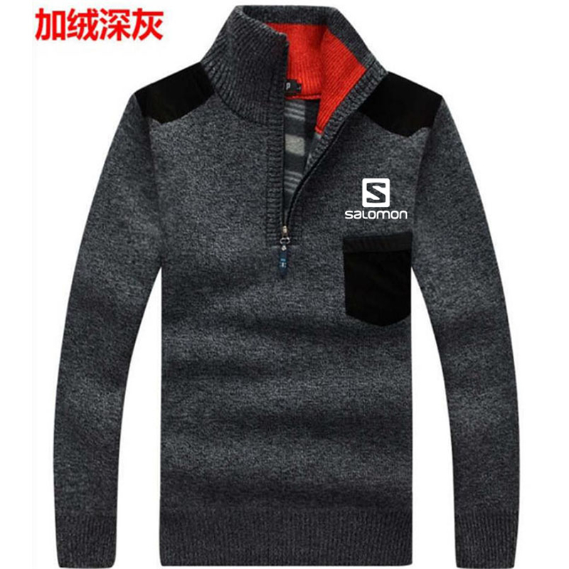 2019 Autumn New Men's Salomon Sweatercoat Pullovers Male Winter Thick Sweaters Coat Stand Collar Slim Fit Knitted Pullover
