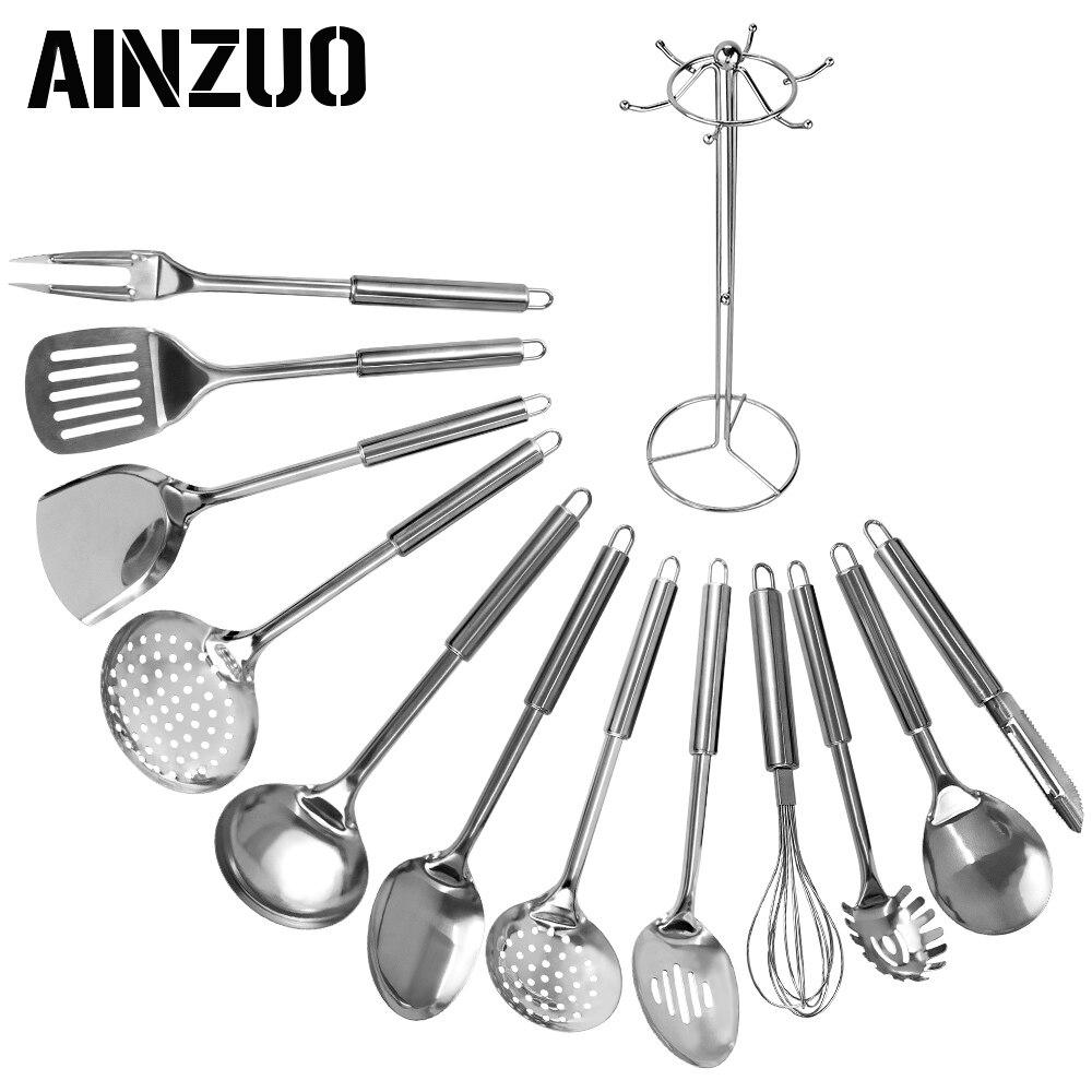 AINZUO 13 個ステンレス鋼台所用品スプーンスキマーシャベルへら肉フォーク卵ビーター調理器具台所用品調理器具セット   -