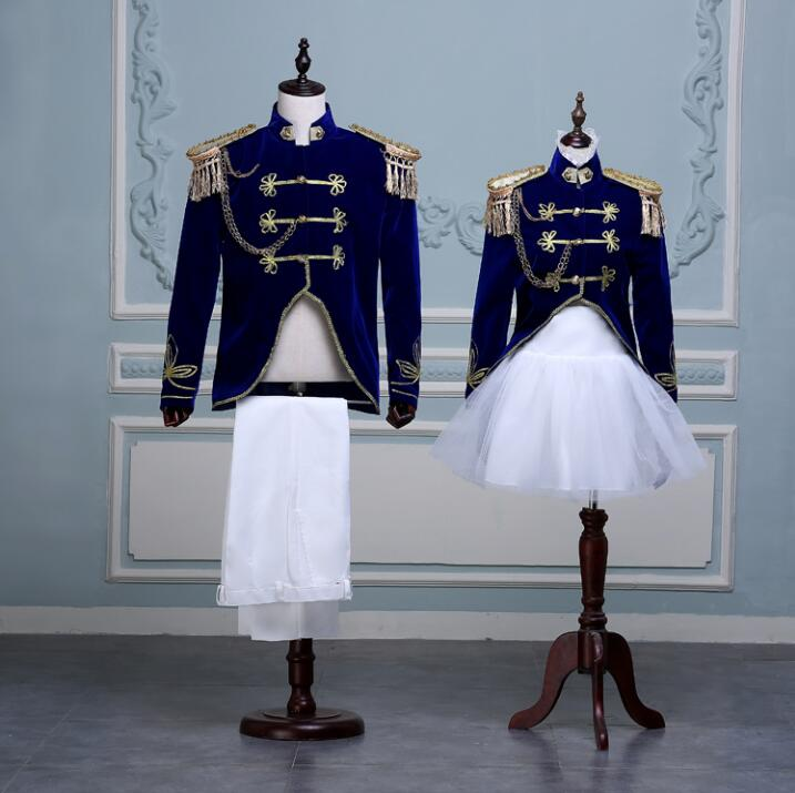 Couple Stage Performance Clothing Shoot Suits Navy Stage Performance Team Clothig For Woman Man Army Band Uniform