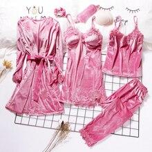 2019 Gold Samt Robe & Kleid Sets 3 6 Stück Warme Winter Pyjamas Sets Frauen Sexy Spitze Robe Pyjamas nachtwäsche Nachtwäsche Homewear