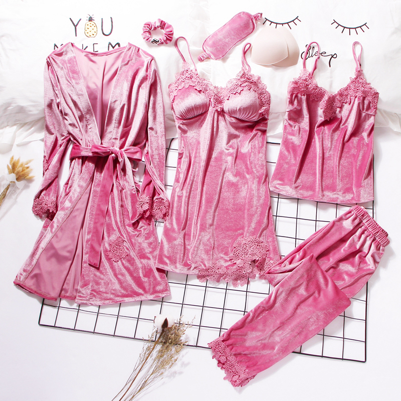 2019 Gold Velvet Robe & Gown Sets 3-6 Pieces Warm Winter Pajamas Sets Women Sexy Lace Robe Pajamas Sleepwear Nightwear Homewear