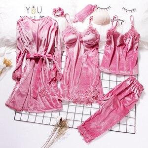 2019 Gold Velvet Robe & Gown Sets 3-6 Pieces Warm Winter Pajamas Sets Women Sexy Lace Robe Pajamas Sleepwear Nightwear Homewear(China)