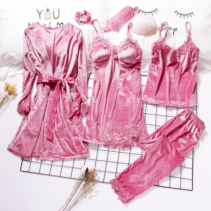 2019-or-velours-robe-robe-ensembles-3-6-pieces-chaud-hiver-pyjamas-ensembles-femmes-sexy-dentelle-robe-pyjamas-vetements-de-nuit-vetements-de-nuit-homewear