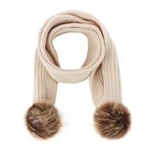 Детский зимний шарф с помпоном, шаль для малышей, теплые шарфы для мальчиков и девочек, вязаные шарфы с меховым шаром, шейный платок, шарф