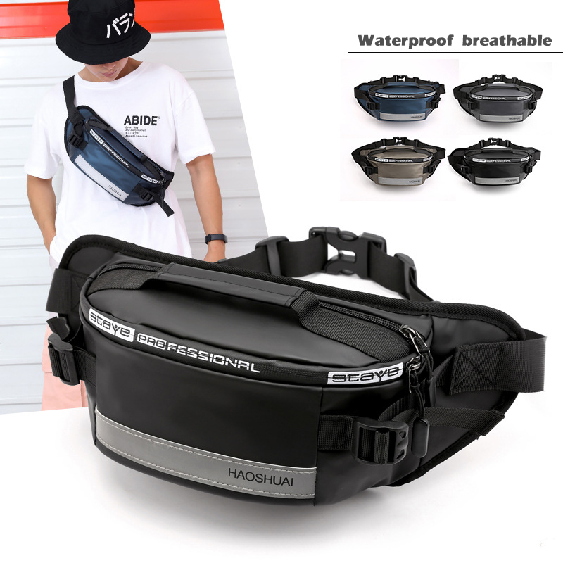 Fashion Waterproof Fanny Pack for Outdoor Leisure Fitness Reflective Strip <font><b>Waist</b></font> <font><b>Bag</b></font> Anti-theft Mobile Phone Chest <font><b>Bag</b></font> Belt <font><b>Bag</b></font> image