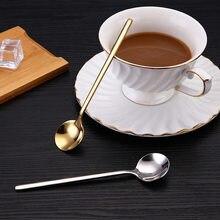 Cuchara agitadora de café de acero inoxidable, cuchara de té de mango largo, cuchara de helado, miel, cuchara agitadora de cóctel, cubertería de cocina, 2 uds.