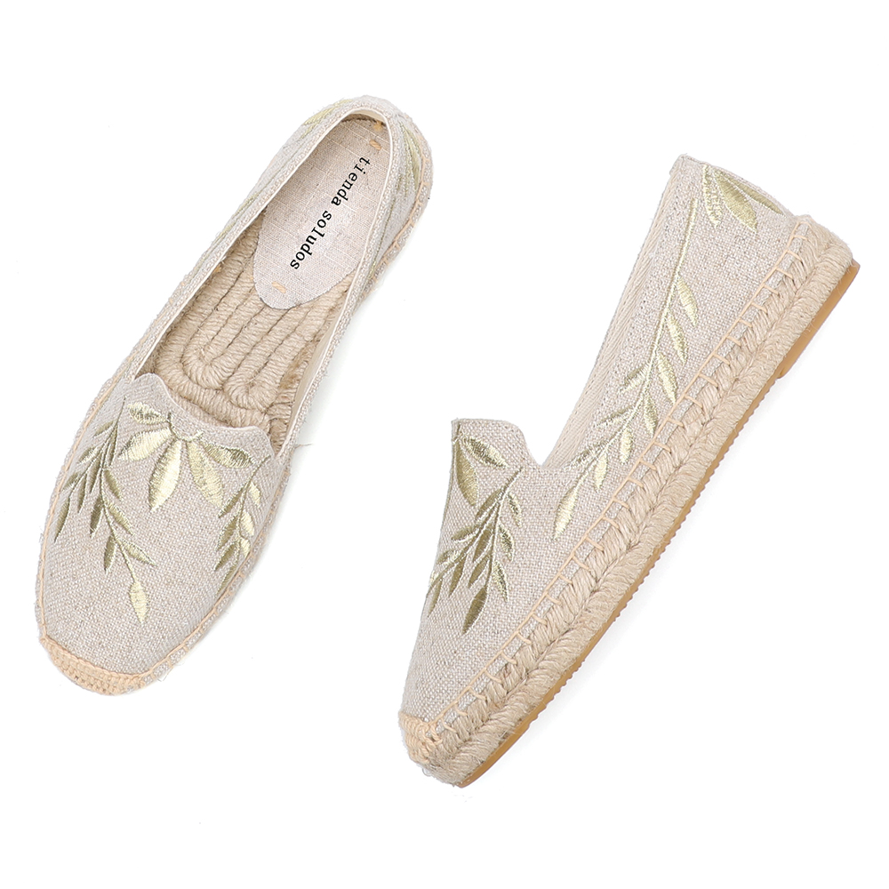 2020 Hot Sale Real Flat Platform Hemp Rubber Slip-on Casual Floral Zapatillas Mujer Sapatos Womens Espadrilles Flat Shoes
