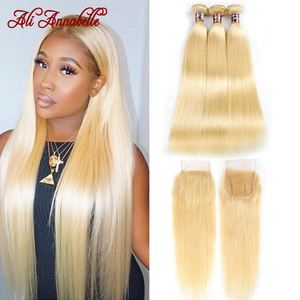 Ali Annabelle Honey Blonde Bundles With Closure Peruvian Remy Straight Human Hair 613 Closure With Bundles 4 by 4 Lace Closure