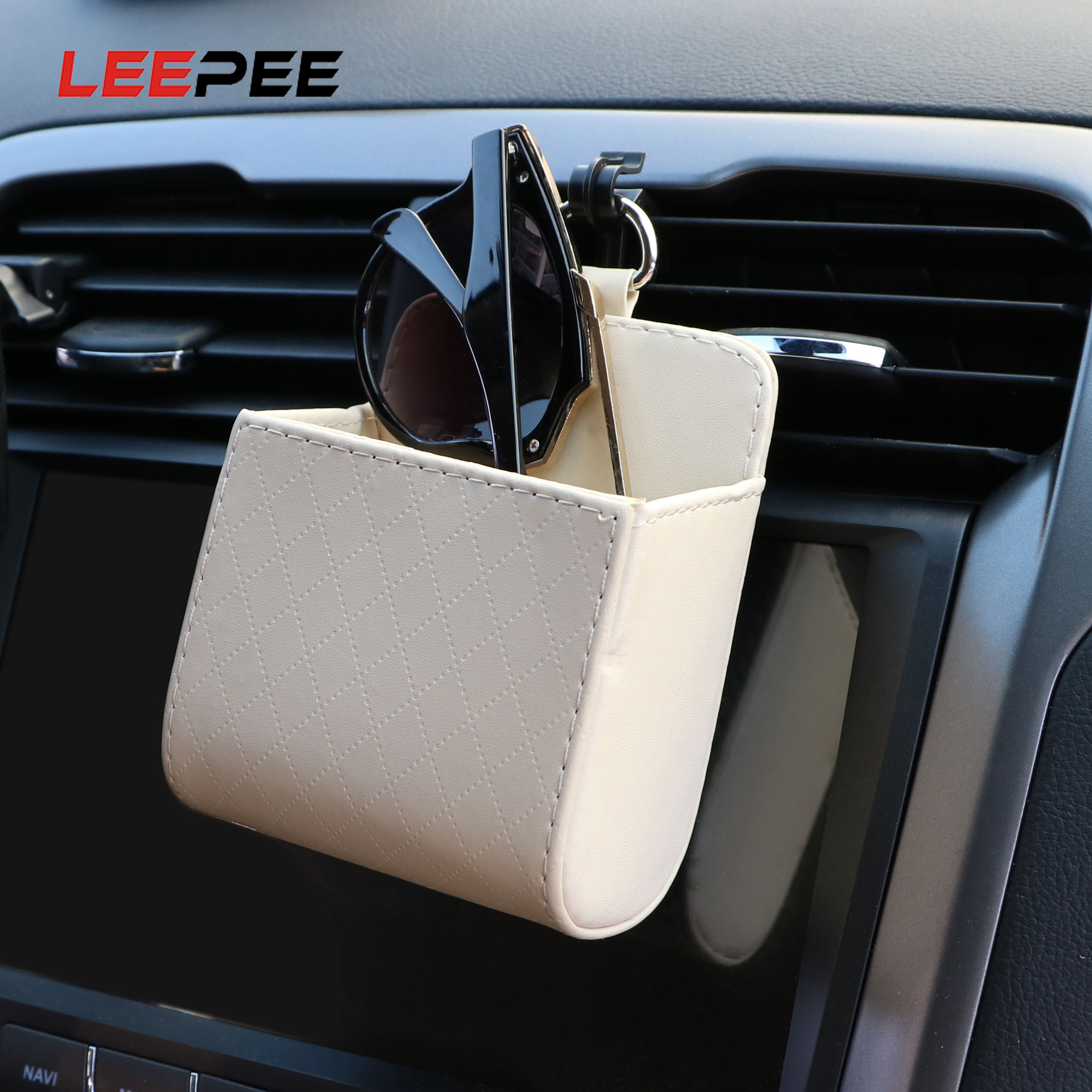 LEEPEE PU Leather Car Air Outlet Glasses Phone Storage Box Car Organizer Auto Interior Accessories Pocket  Container
