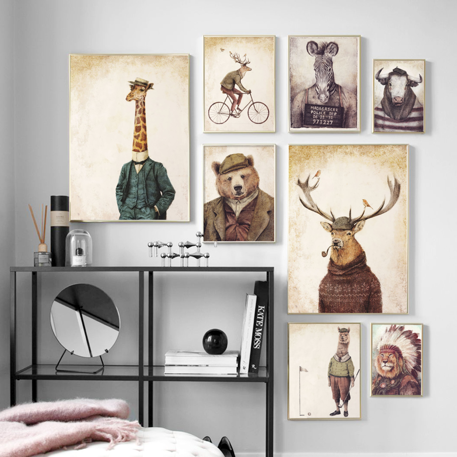 Human body Animal Head Abstract Wall Art Print Giraffe bear Lion Canvas Painting Nordic Poster Decor Pictures For Living Room