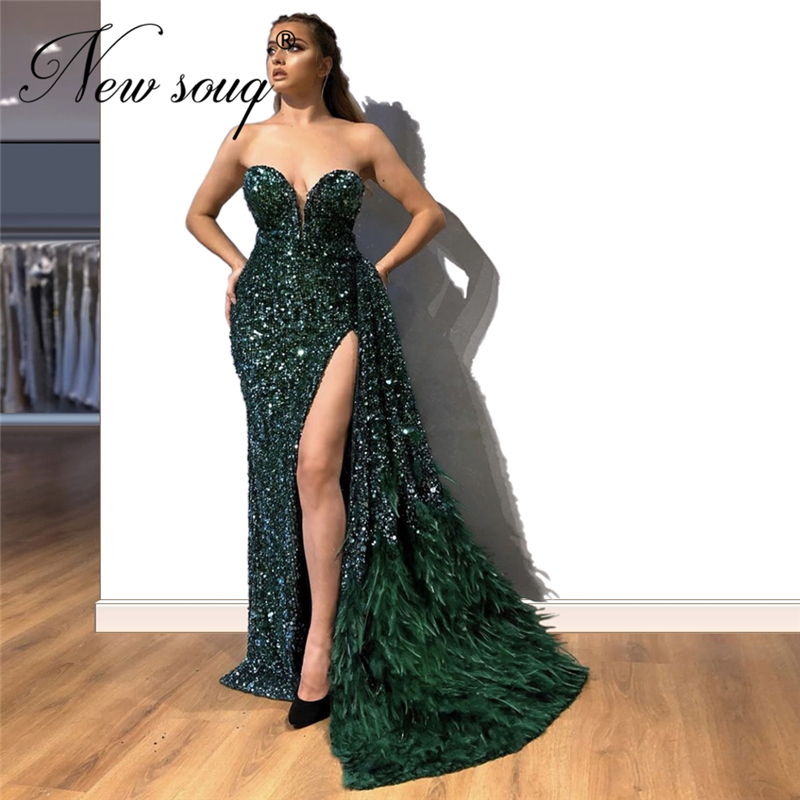 Hot Green Beading Celebrity Party Dresses 2020 Robe De Soiree Split Side Evening Dress Middle East Long Prom Gown Dubai Couture