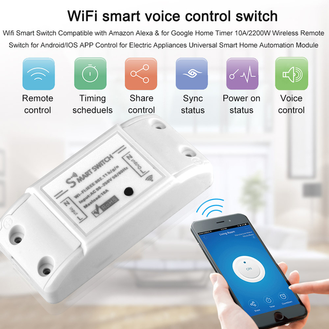 Tuya Wifi Switch DIY Wireless Remote Domotica Light Smart Home Automation Relay Module Controller Work with Alexa 4