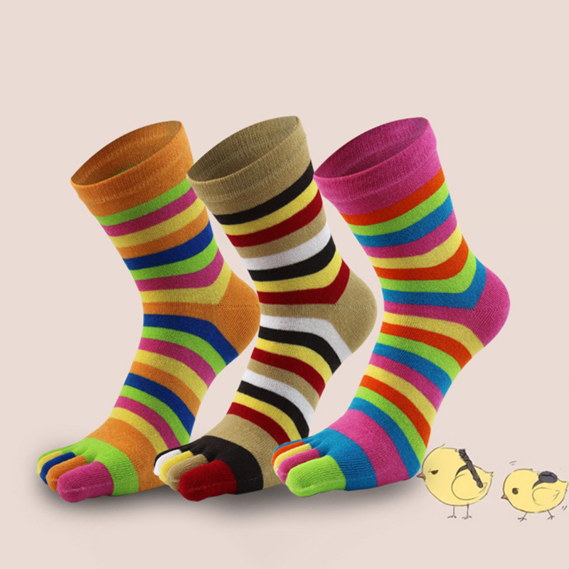 2020 Women Girl Colorful Striped Cotton Breathable Calf Crew Five Finger Short Ankle Toe Socks