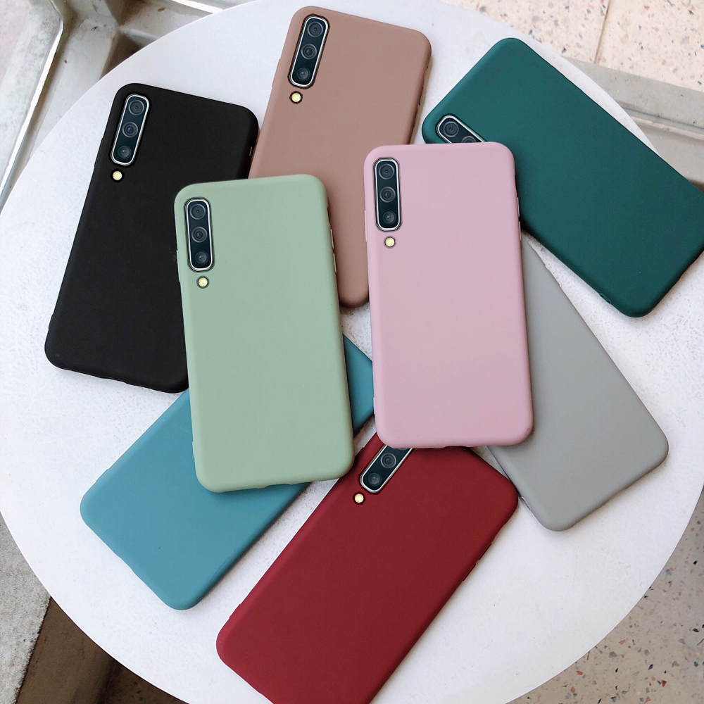 Retro color silicon case for Samsung Galaxy A50 A70 A10 A20 A30 A40 A60 M10 M20 M30 A20E S8 S9 S10 Note 8 9 10 Plus S10E case image