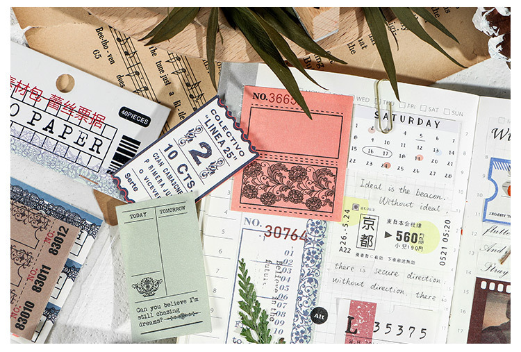 JIANWU 40 sheets Japanese Time series deco paper DIY creative material decoration bullet journal supplies no Stickiness
