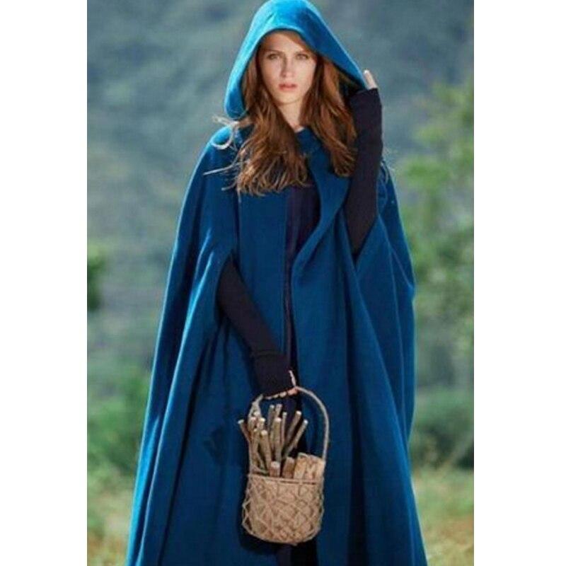 Women's Loose Wool Poncho Winter Warm Coat Jacket Long Cloak Cape Parka Outwear Fashion Women Coat Ankle Length Hoody Jackets