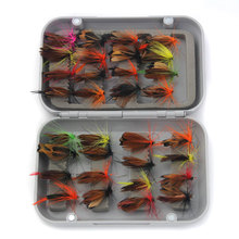 32Pcs/Box Trout Nymph Fly Fishing Lure Dry/Wet Flies Nymphs Ice Fishing Lures Artificial Bait with Boxed Fishing Tackles Box