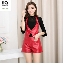2020 New Office Genuine Leather Shorts OL Style Slim Sheepskin Leather Ladies Short Pants Brand Fashion Red Wide Leg Short Mujer