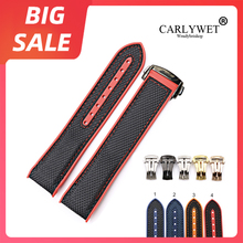 CARLYWEY 20 22mm Blue Red Rubber Silicone With Nylon Replacement Watch Band Strap For Omega Planet Ocean 45 42mm With Clasp men silicone rubber wrist watch strap band waterproof with deployment clasp red orange blue coffee