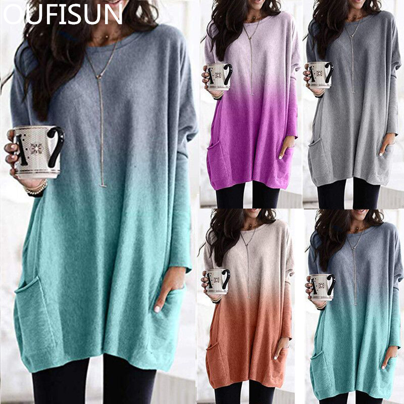 Oufisun Fashion Gradient Long T-shirts Casual O-neck Loose Tee Shirt Vintage Pockets T-shirts Woman Clothes Autumn Winter Tops
