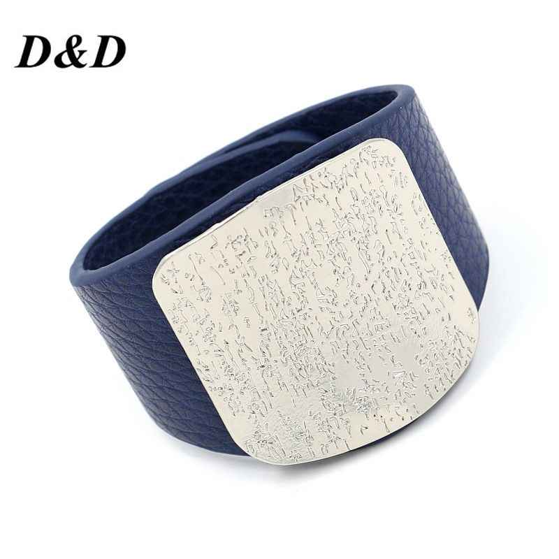 D&D Personality Leather Bracelet Women with Alloy Buckle Adjustable Fashion Women Men Bracelets & Bangles Punk Jewelry