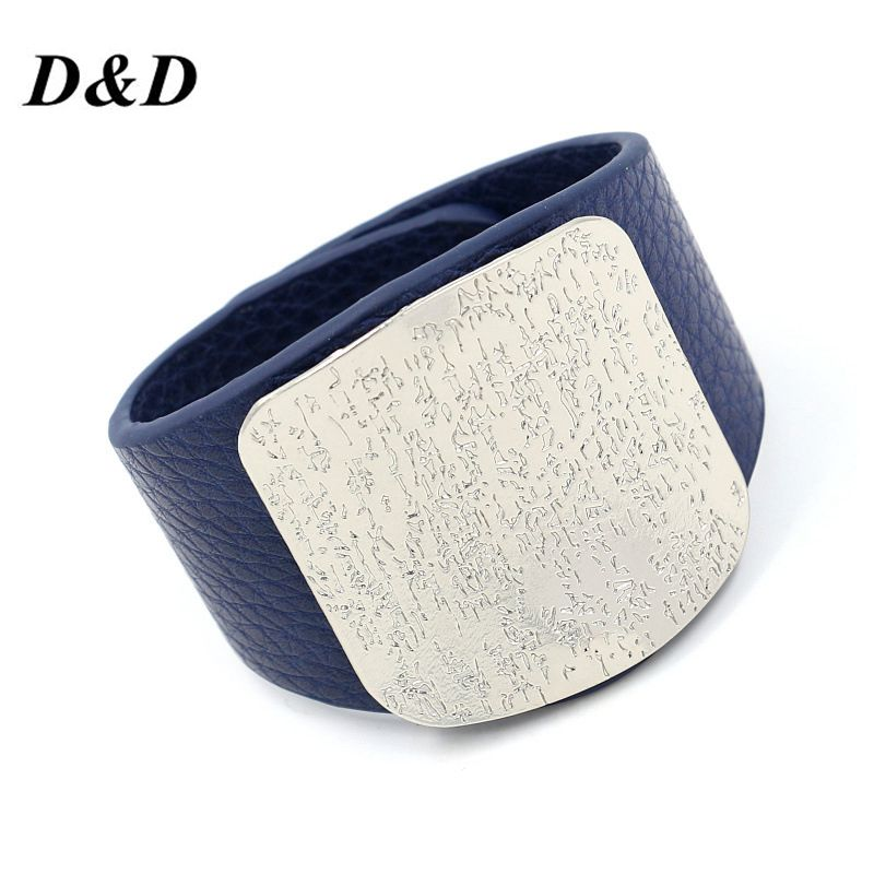 D&D Personality Leather Bracelet For Women with Alloy Buckle Adjustable Fashion Women Men Bracelets & Bangles Punk Jewelry