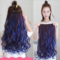 Longs ondulés femmes Clips en Extension de cheveux syntheticmixte couleur clip postiche Haistyle résistant à la chaleur pour blanc femmes rouge violet