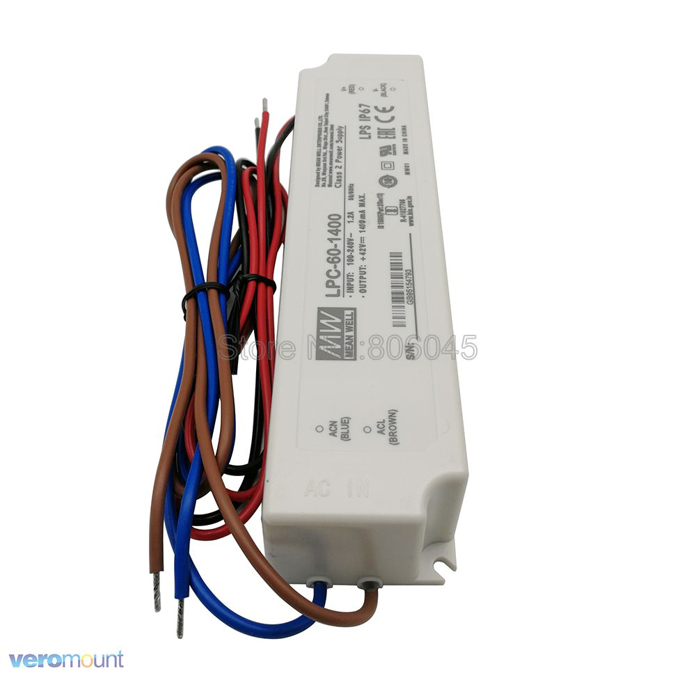 Meanwell LPC-60-1400 Switching Power Supply Constant Current LED Driver Single Output 42V 1400mA for 1pc Cree COB CXB3590 LED