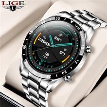 LIGE 2020 nowych stali nierdzewnej opaska z inteligentnym zegarkiem mężczyzn dla Android IOS telefon tętno IP68 wodoodporna w pełni dotykowy ekran luksusowy Smartwatch